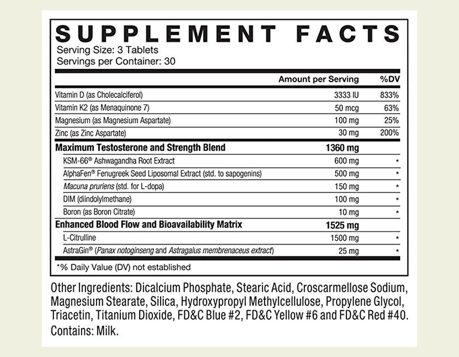 The Alpha King Supreme ingredients label. We were pleased to see that this supplement doesn't use a proprietary blend