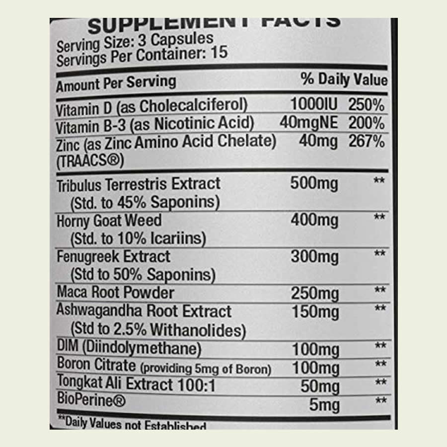 The ingredients label of the Iron Brothers Testosterone booster. It's great to see that this supplement doesn't use a proprietary blend
