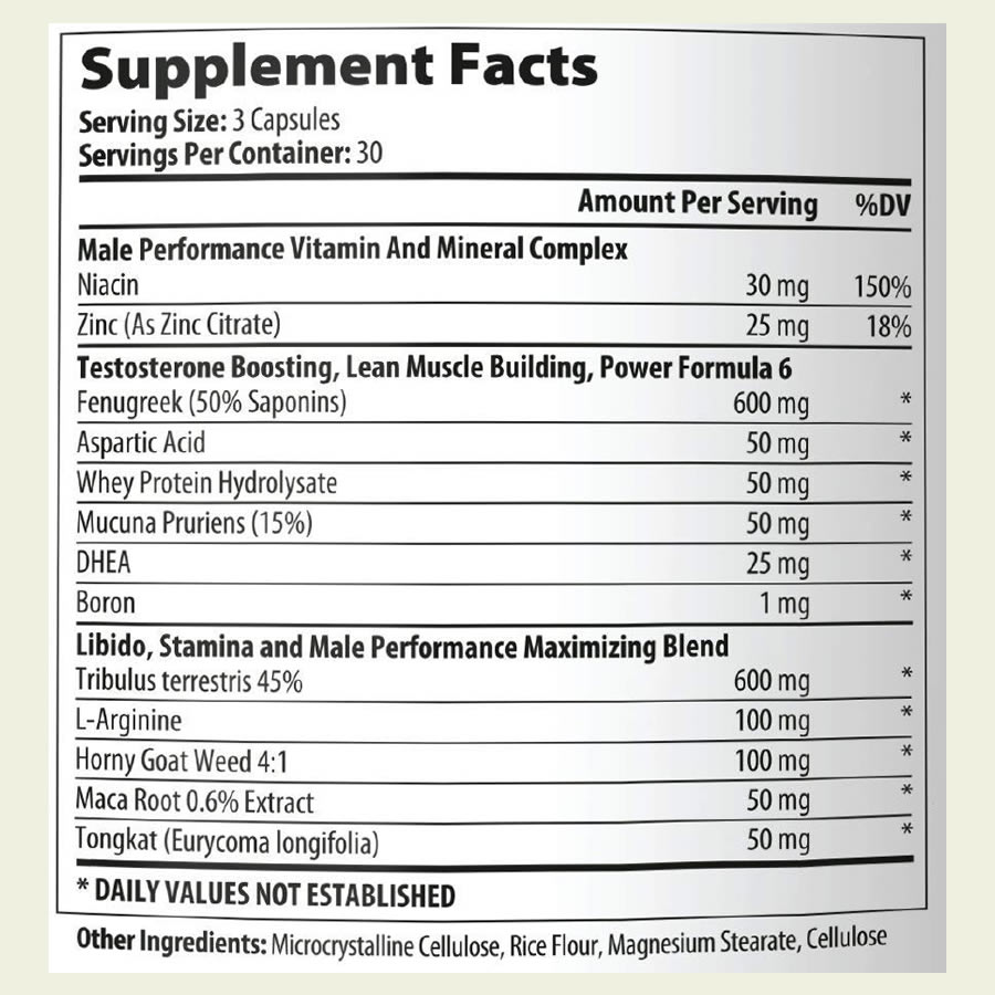 The LEAN Nutraceuticals Natural Testosterone Booster ingredients formula. It's excellent to see that this product doesn't use a proprietary blend
