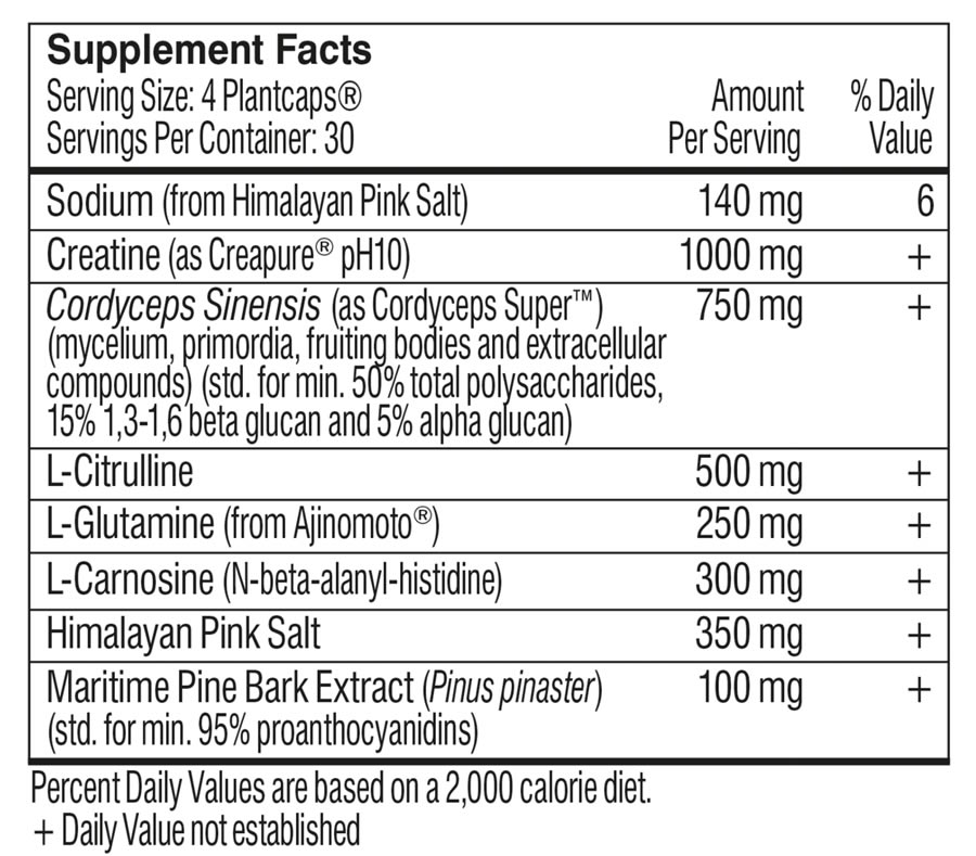 The full ingredients formula of Performance Lab SPORT Pre-Workout