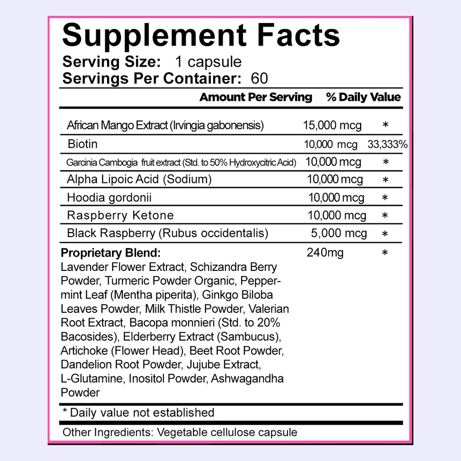 The Rockstar Skinny PM ingredients ingredient label. It's a shame that the manufacturers have hidden the doses of some ingredients in a proprietary blend
