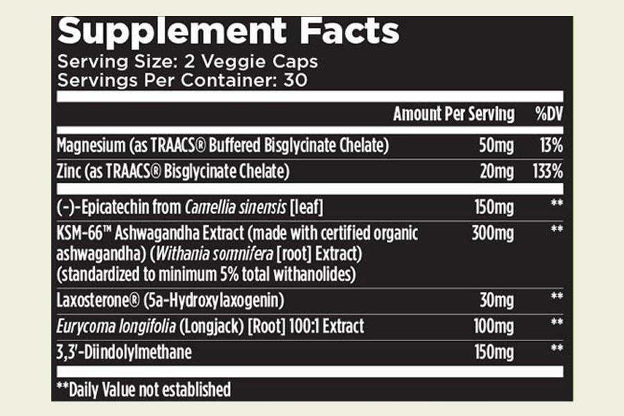 The T6 Alpha Muscle XT ingredients formula as shown on the label. It's good news to see that T6 have chosen not to use a proprietary blend for this supplement