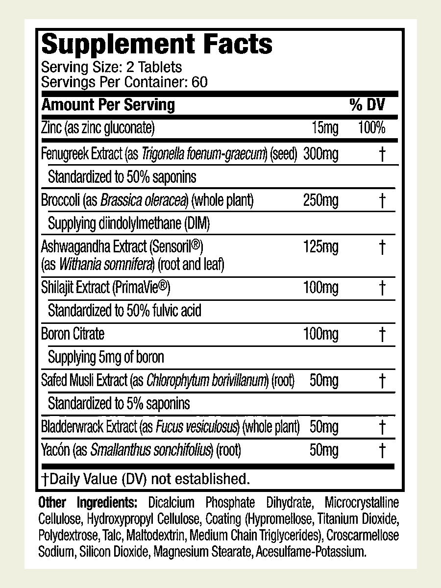 The True Grit Test Booster ingredients label. It's great to see that this supplement doesn't use a proprietary blend
