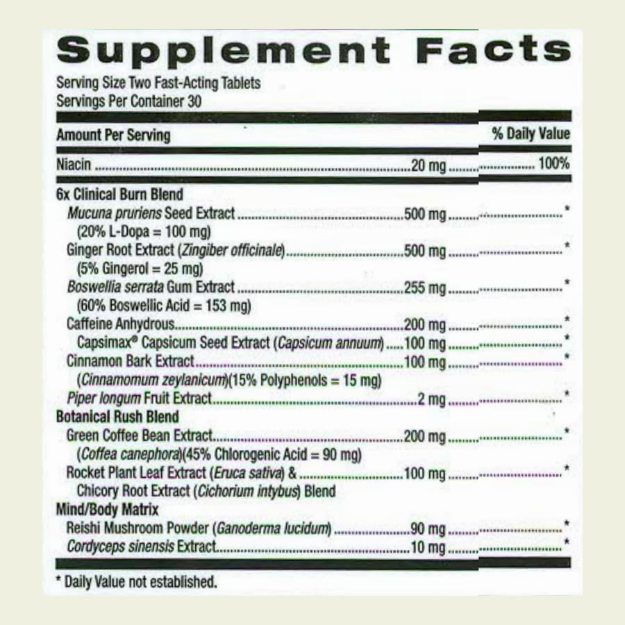 The full GNC Total Lean Advanced Metabolic Elite ingredients formula as per the label