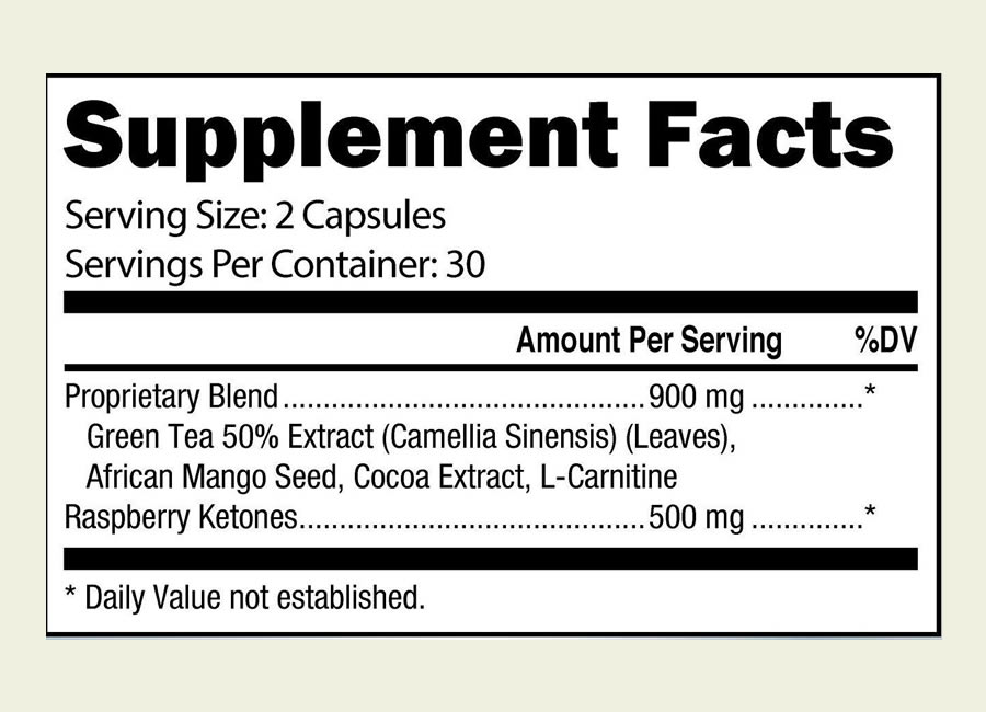 The Be Slim ingredients label. It's a shame that this product uses a proprietary blend