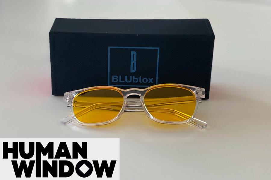 BLUblox SummerGLO blue light blocking glasses with box