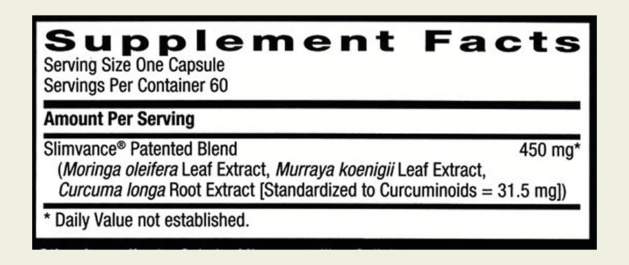 The Slimvance Non Stimulant ingredients label. Sadly, this product uses a proprietary blend