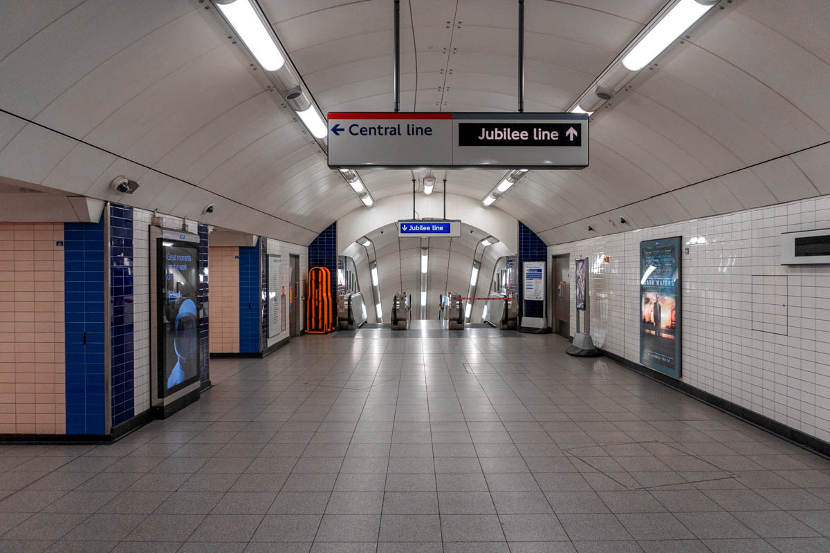 Bond Street tube station is deserted, with the public told not to travel unless journeys are absolutely essential