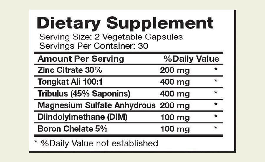 The full BRI Testrone Extra Strength ingredients label