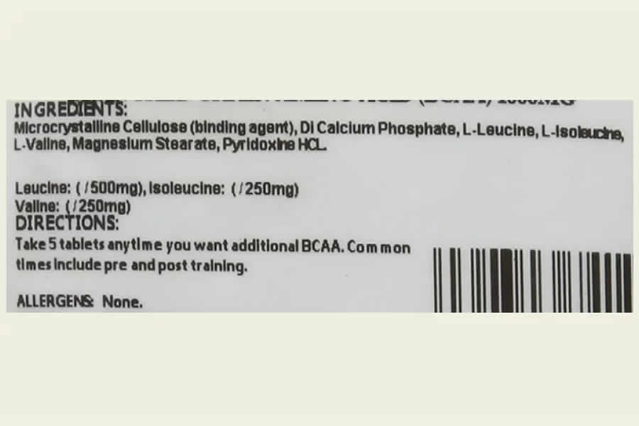 The Bulk Powders BCAA tablets ingredients label