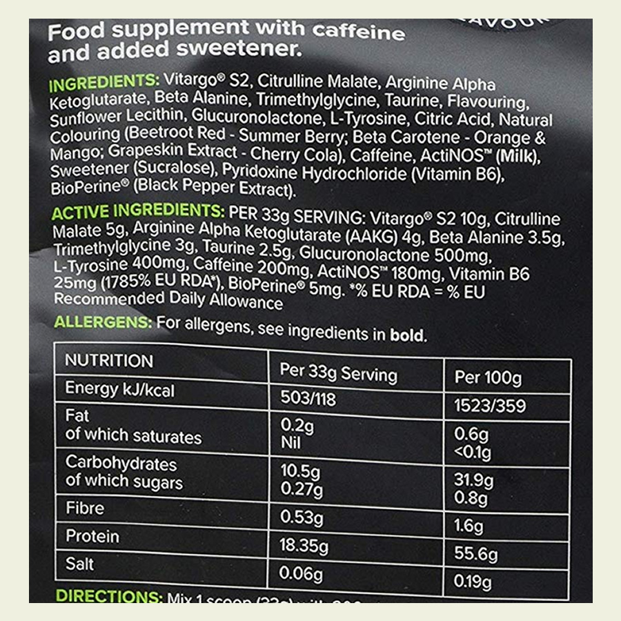The Elevate pre workout ingredients label. It's great to see that Bulk Powders have not used a proprietary blend with this supplement
