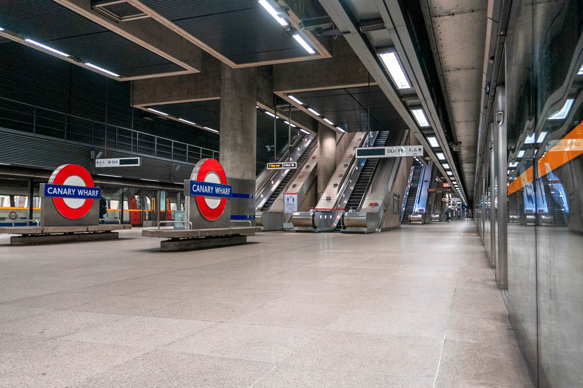 Canary Wharf is known for being an extremely busy tube station, but it is now practically empty