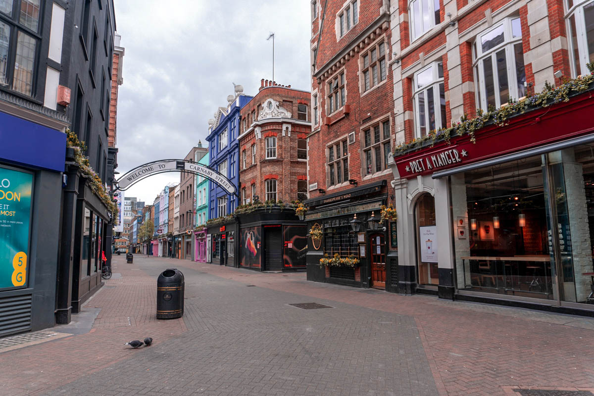 Carnaby Street is totally deserted during the London lockdown