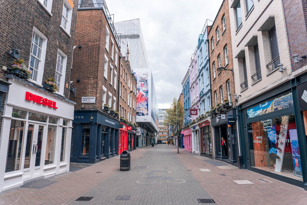 All of the shops are closed on Carnaby Street
