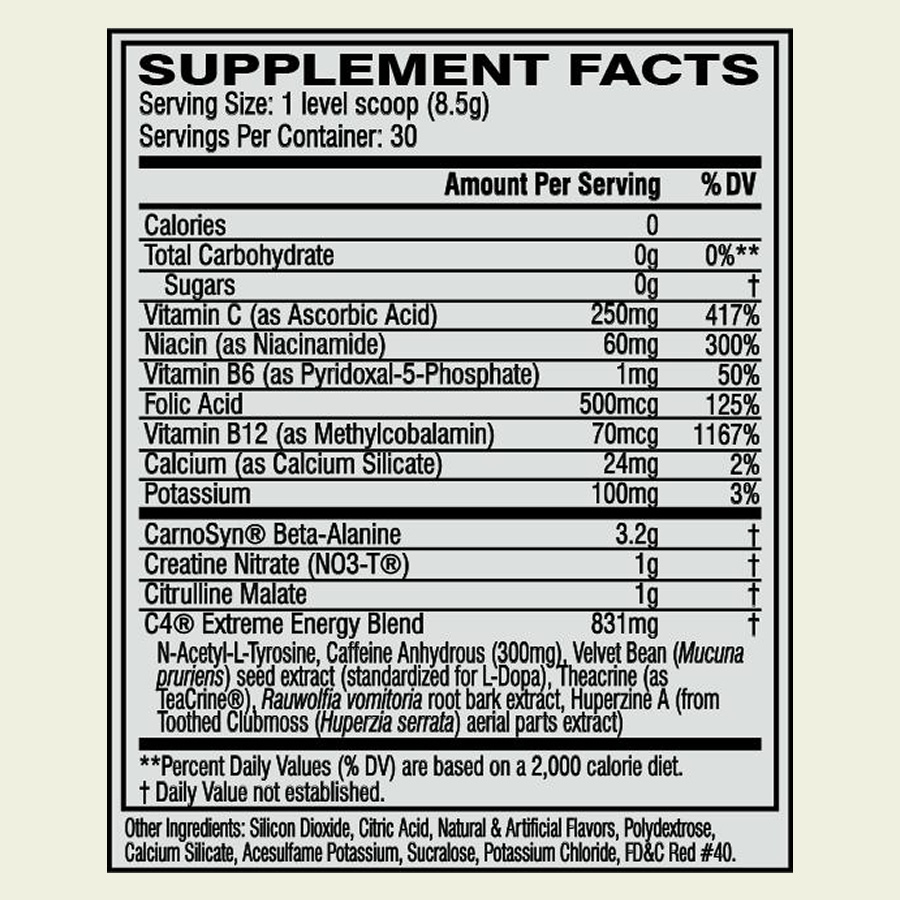 The Cellucor C4 Extreme Energy ingredients formula. It's disappointing that this product uses a proprietary blend to hide the doses of some of the ingredients.