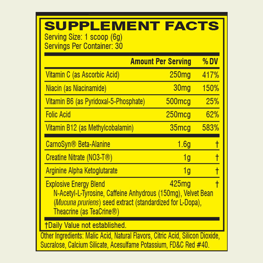 The Cellucor C4 Original pre workout supplement formula. It's disappointing that this supplement use a proprietary blend to hide the doses of a lot of the ingredients