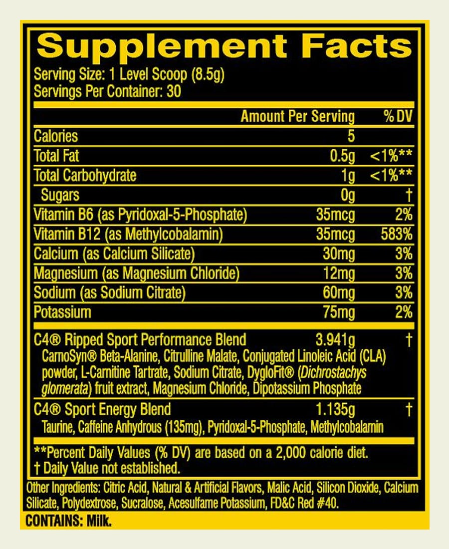 The Cellucor C4 Ripped Sport ingredients formula. It's a bit of a shame that this product uses some proprietary blends to hide doses of some of the ingredients