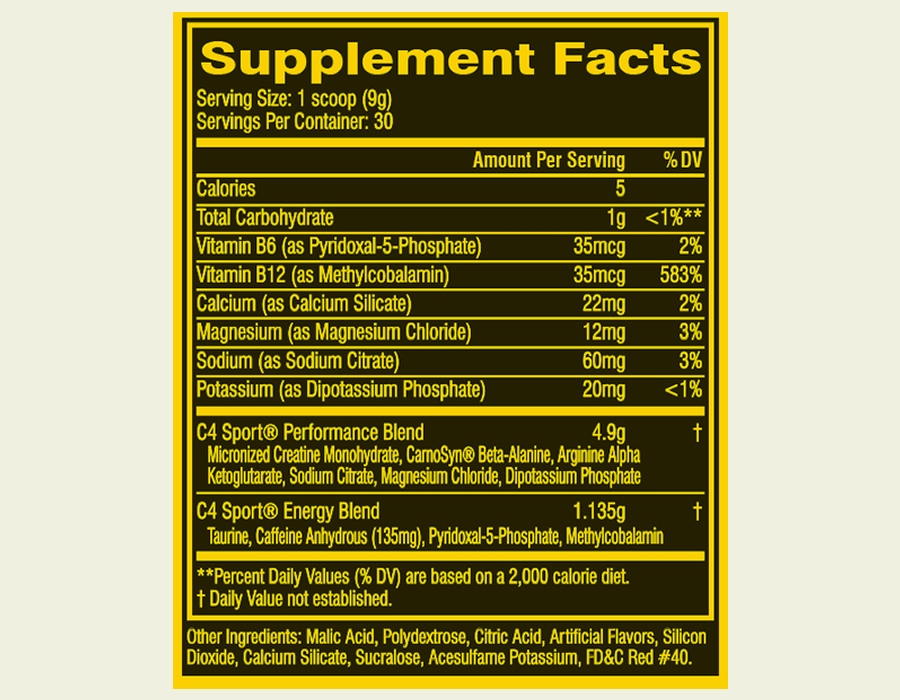 The Cellucor C4 Sport ingredients label