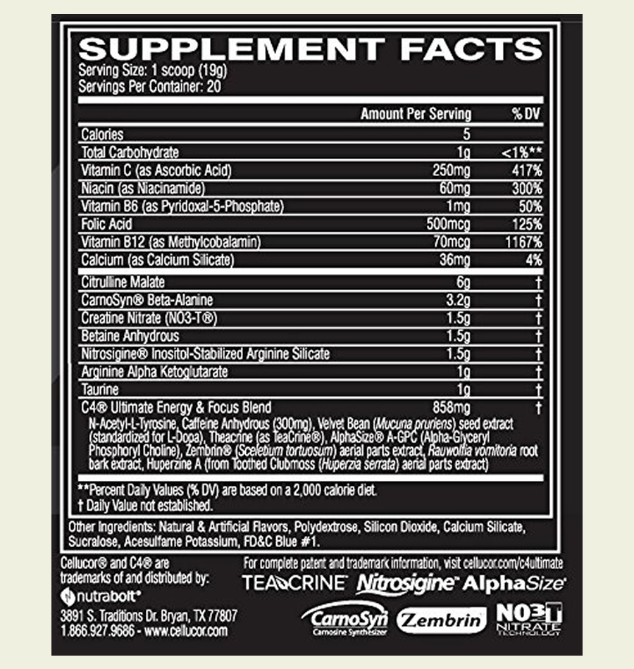 The Cellucor C4 Ultimate ingredients label. It's a shame that this pre workout uses a proprietary blend to hide the doses of some of the ingredients