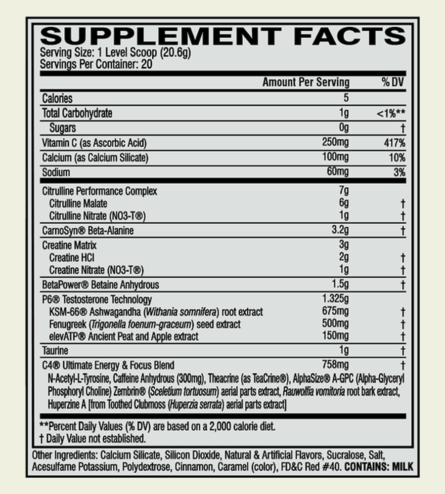 The Cellucor C4 Ultimate Power ingredients formula. It's a shame that some of the ingredients are enclosed in a proprietary blend