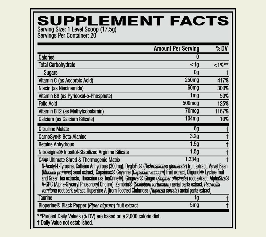 The Cellucor C4 Ultimate Shred ingredients formula. It's a shame that this product uses a proprietary blend for some of its ingredients