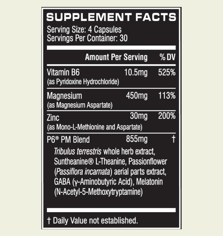 The Cellucor P6 PM ingredients formula. Unfortunately this supplement uses a proprietary blend