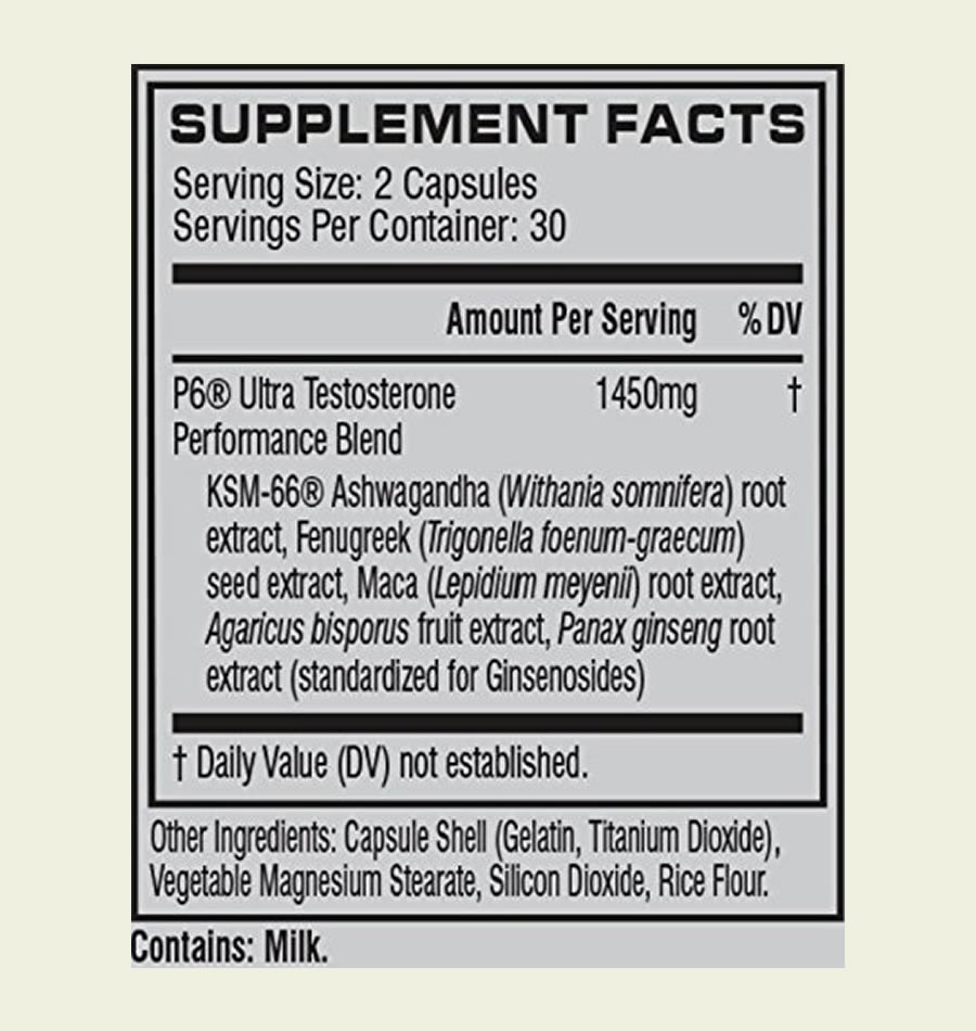 The full Cellucor P6 Ultra ingredients formula. Unfortunately, it uses a proprietary blend.