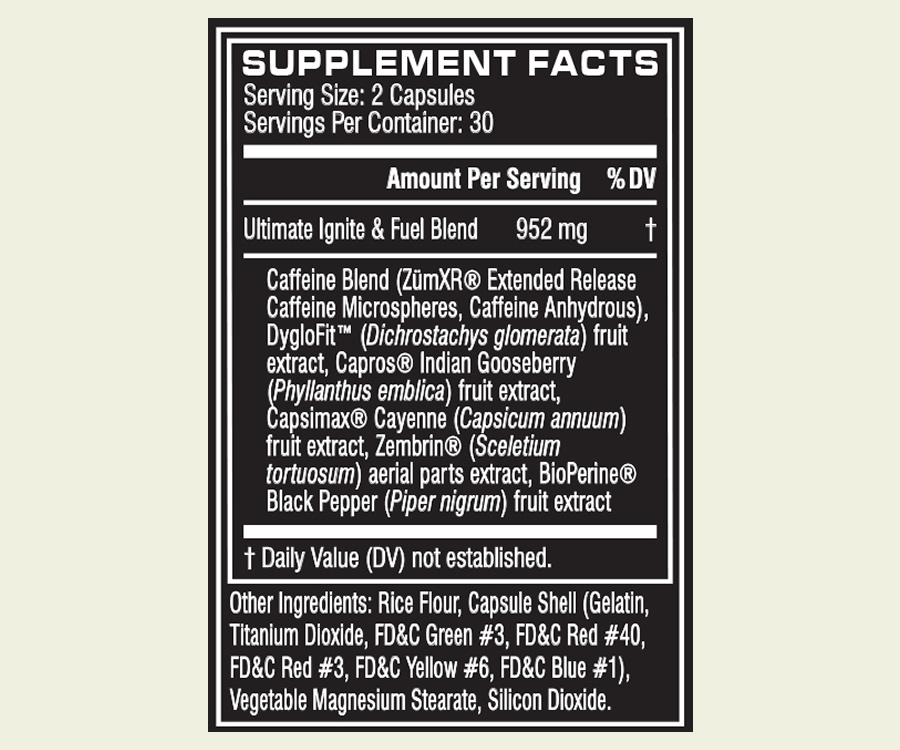 Cellucor SuperHD Ultimate ingredients
