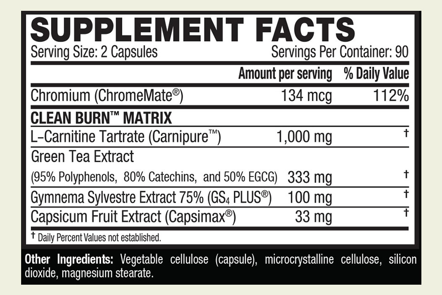 The Kaged Muscle Clean Burn ingredients label. It's good to see that the manufacturers have not used a proprietary blend here