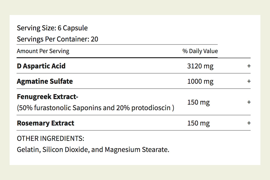 The Conquest HD ingredients formula. It's great to see that this testosterone booster does not use a proprietary blend
