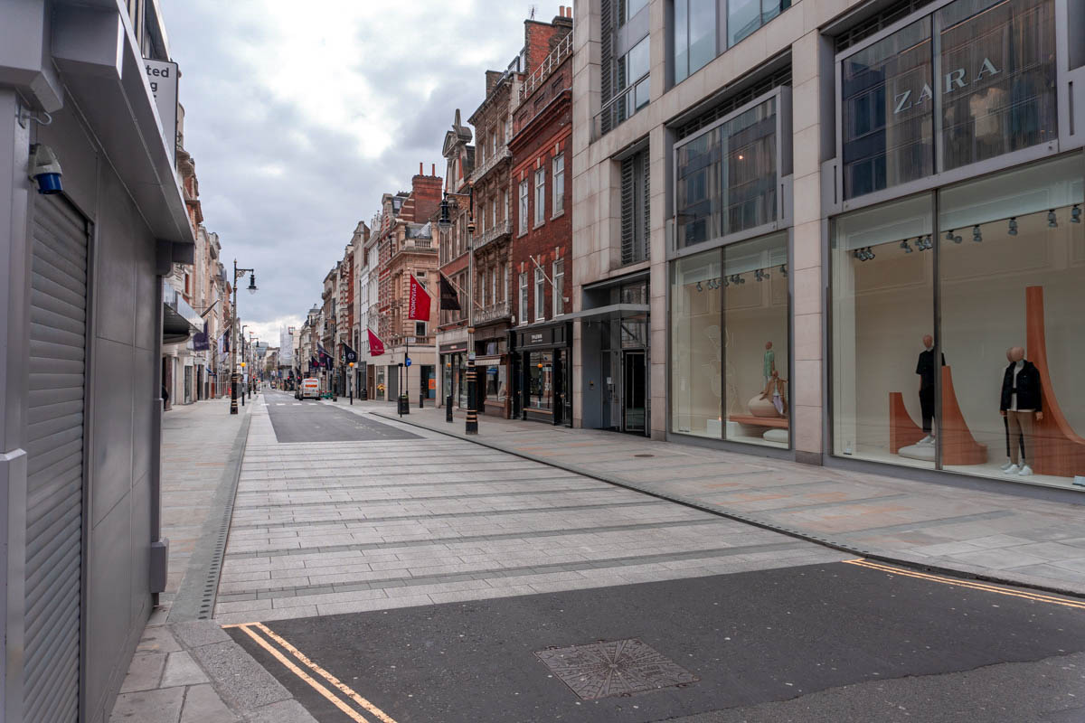London's side-streets are also deserted