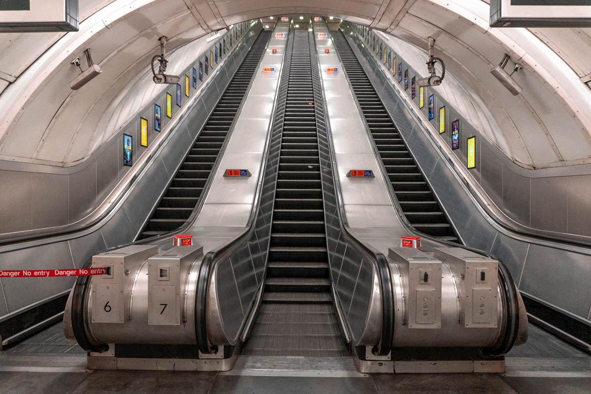 Empty escalators in Bond Street tube station