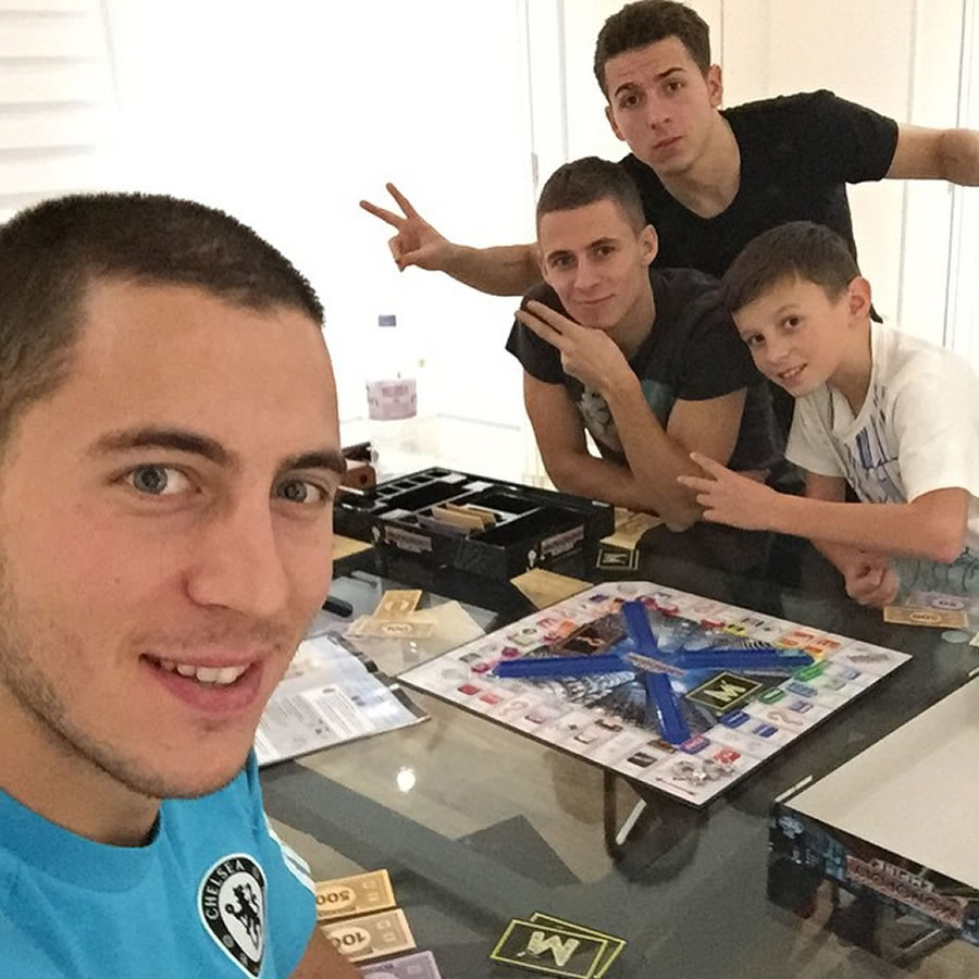Eden Hazard with his three brothers Thorgan, Kylian and Ethan (far left) - (Photo: Instagram)