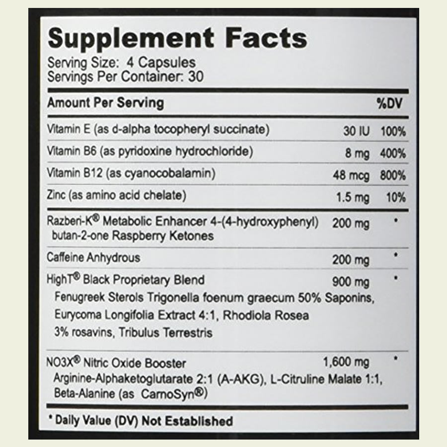 The HighT Black ingredients formula. It's disappointing that this supplement uses proprietary blends to hide the doses of certain ingredients