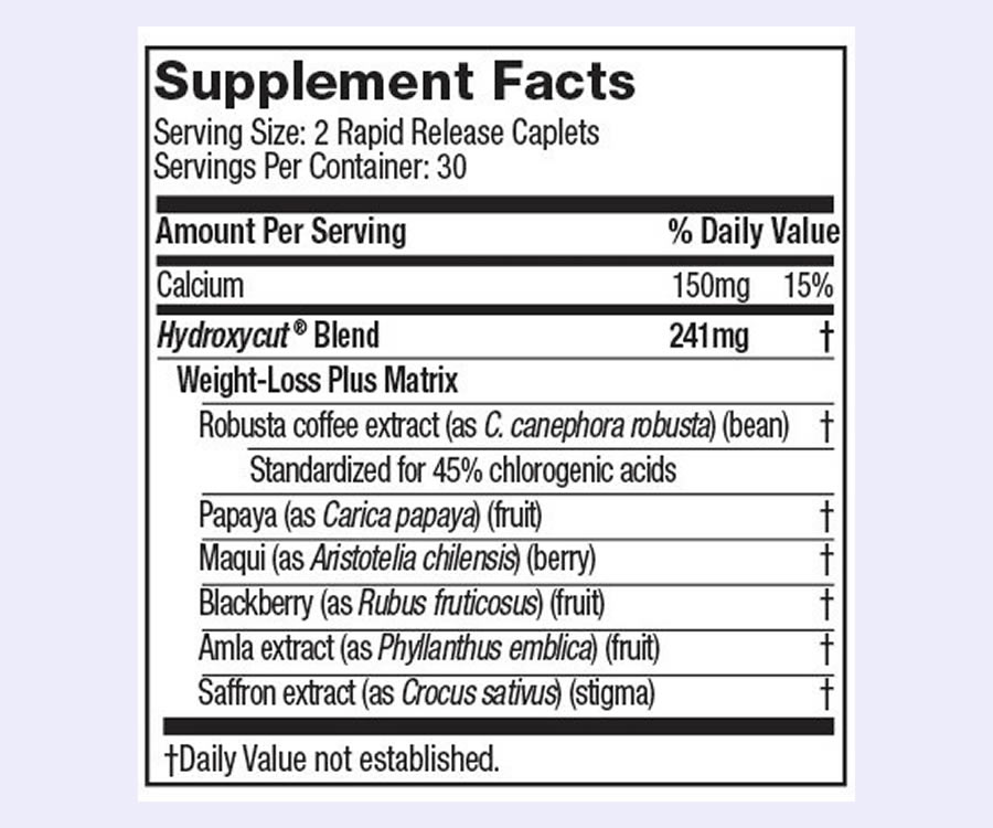 Hydroxycut Caffeine Free ingredients