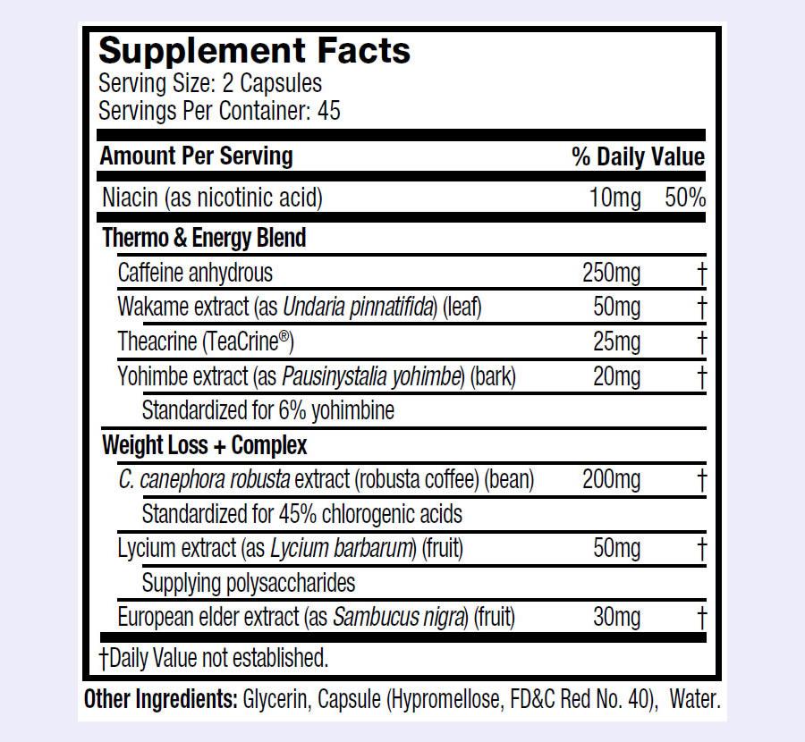 Hydroxycut Ultra Stim ingredients