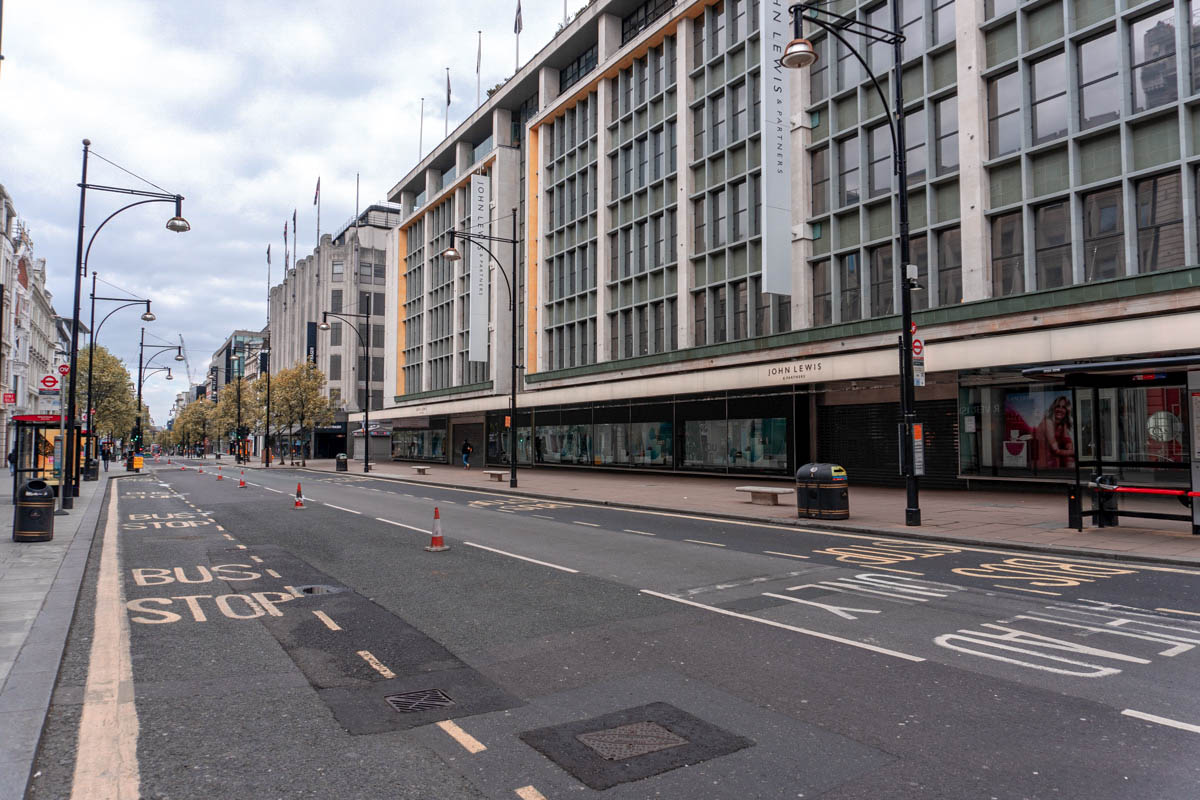The John Lewis shop on Oxford Street is closed until further notice during the lockdown