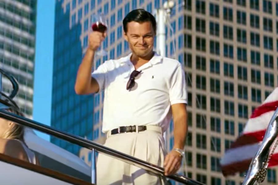 Leonardo DiCaprio as Jordan Belfort in the 2013 movie, The Wolf of Wall Street