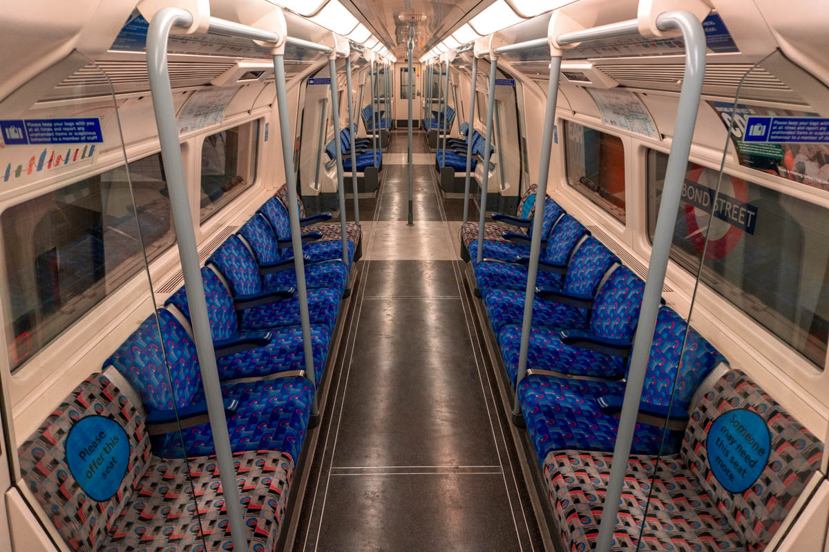 An empty Jubilee line train during the London coronavirus lockdown