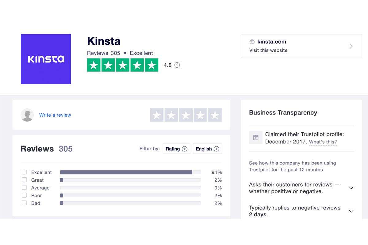 Kinsta Reviews Trustpilot