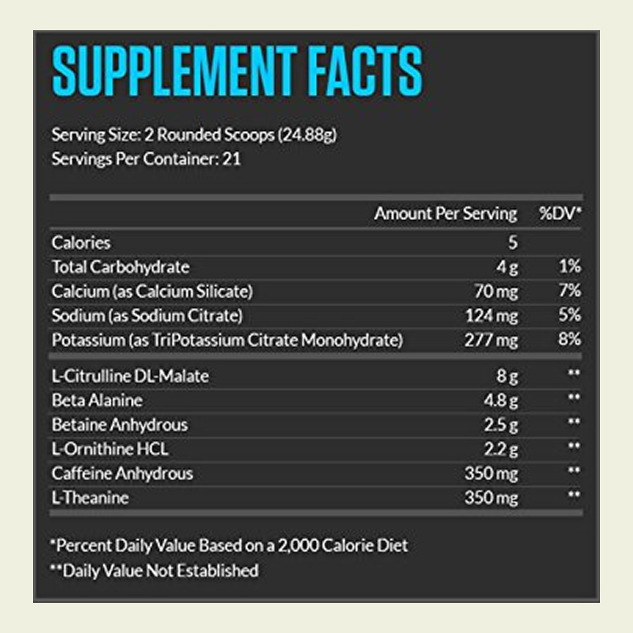 The Legion Pulse Pre Workout ingredient formula. It's great that this product doesn't use a proprietary blend.