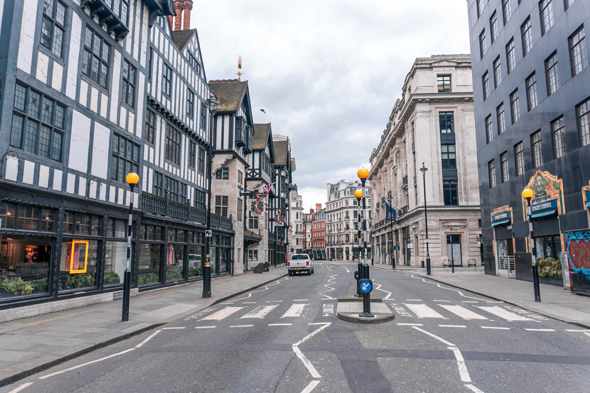 The street outside Liberty in central London is empty