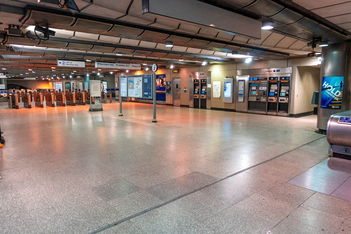A deserted London Bridge tube station during the lockdown
