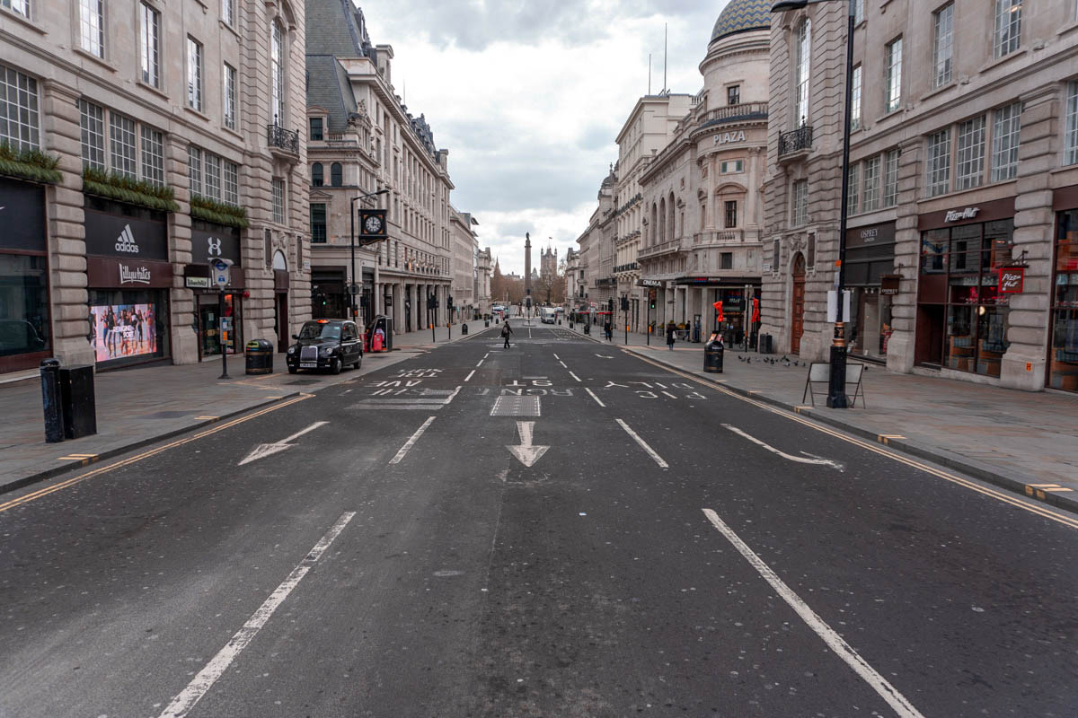 A deserted street near Piccadilly Circus in central London