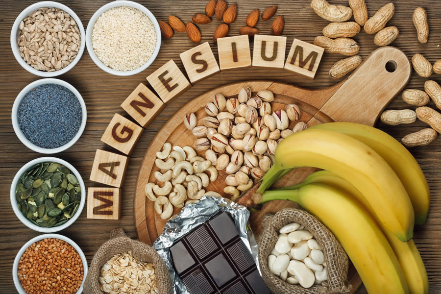 Magnesium is found in a wide variety of foods, including green leafy vegetables, nuts, brown rice, fish, meat and dairy foods.