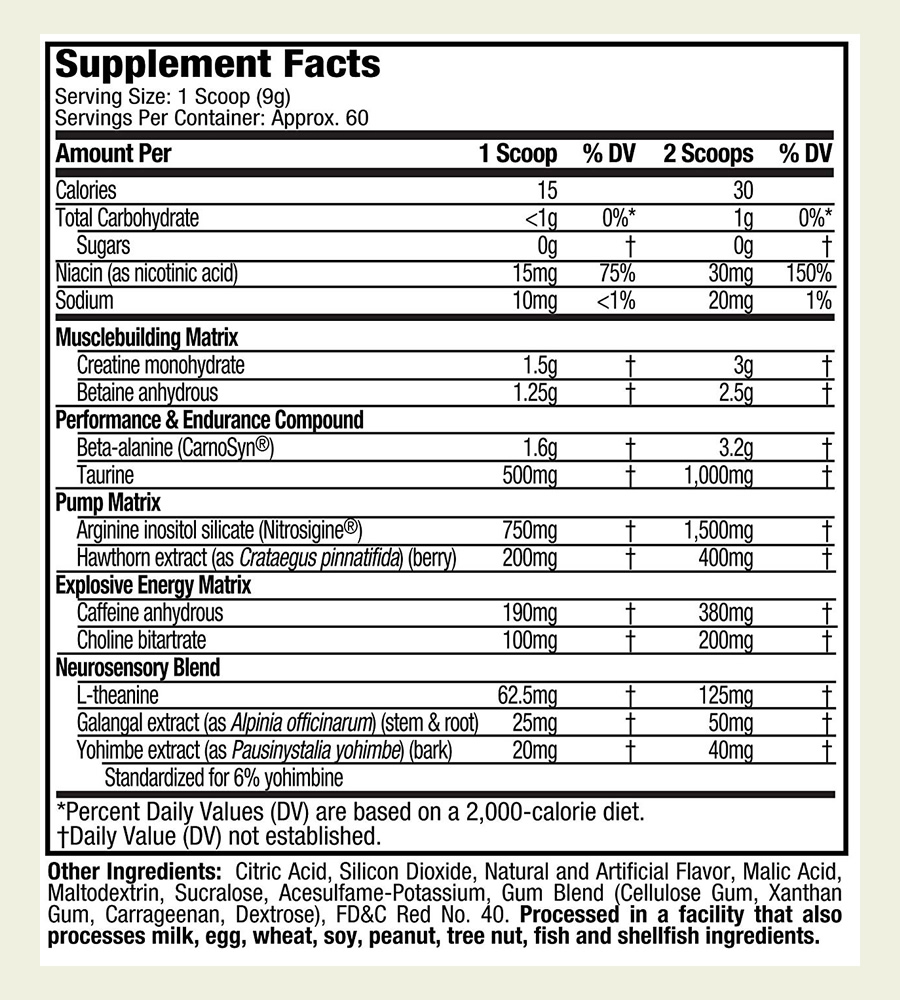 The MuscleTech Vapor X5 Next Gen Pre Workout formula. It's good to see that this supplement does not use a proprietary blend