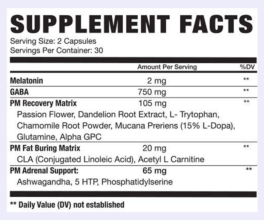 The NLA Her Nighttime Burn ingredients label. Unfortunately this supplement uses a proprietary blend to hide the doses of most of the ingredients