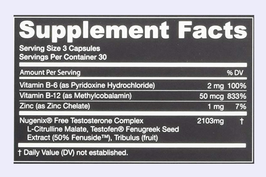 The full Nugenix Testosterone booster ingredients label