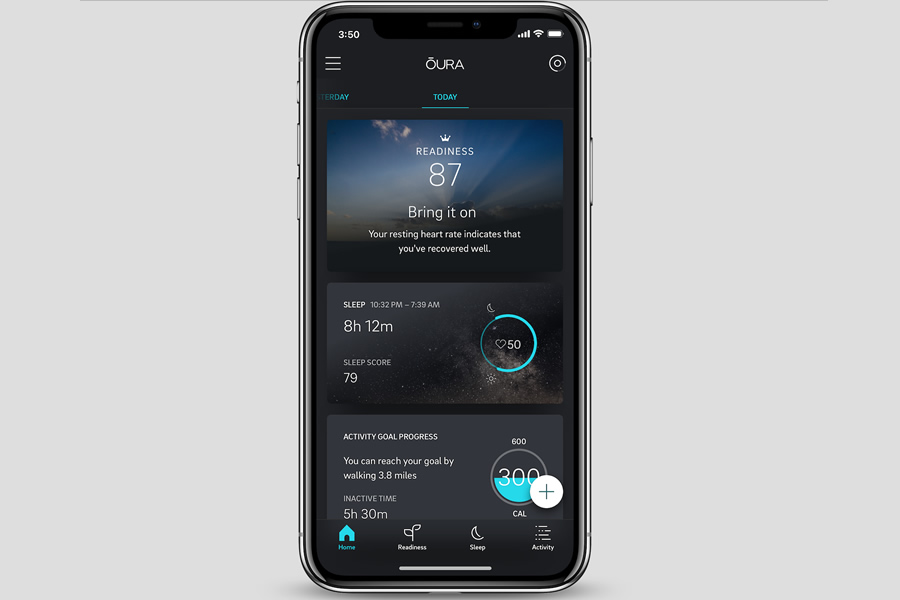 The Oura Ring App home screen (Photo: Oura)