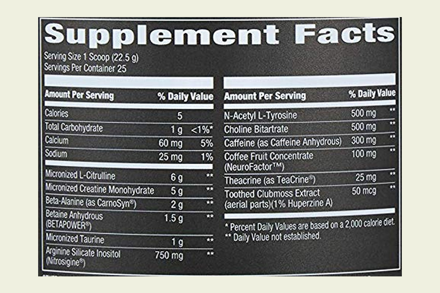 The OWN PWR pre workout supplement ingredients formula. It's great that this product doesn't use a proprietary blend